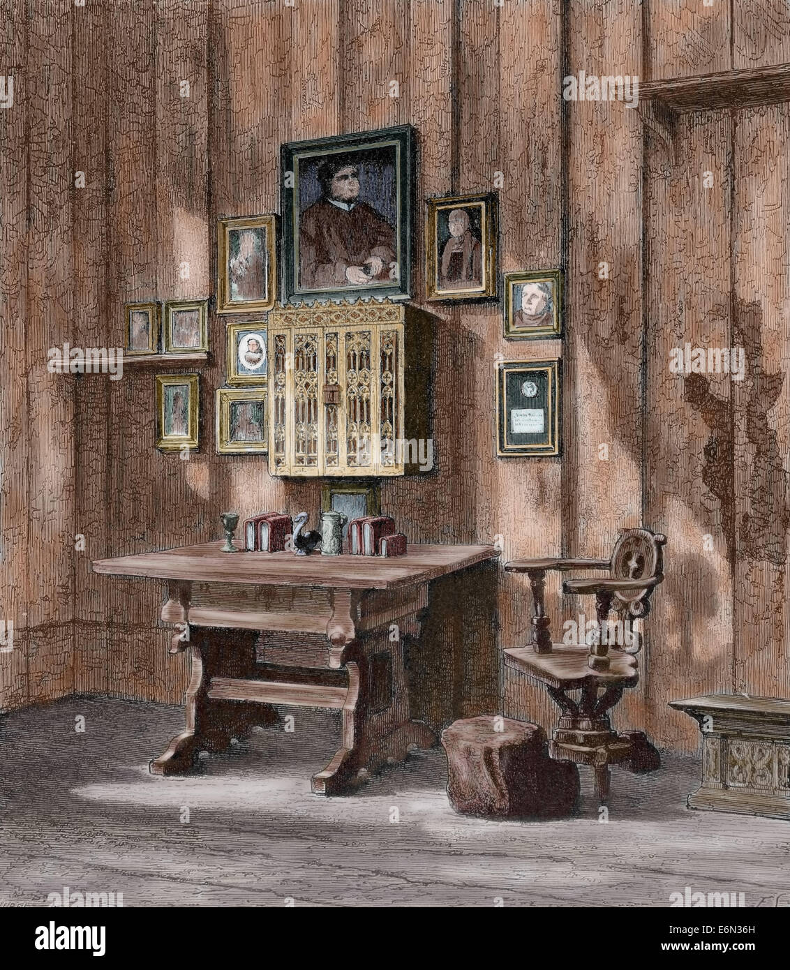 Martin Luther (1483-1546). German reformer. Luther's room at Wartburg. Engraving by Hurel. Colored. - Stock Image
