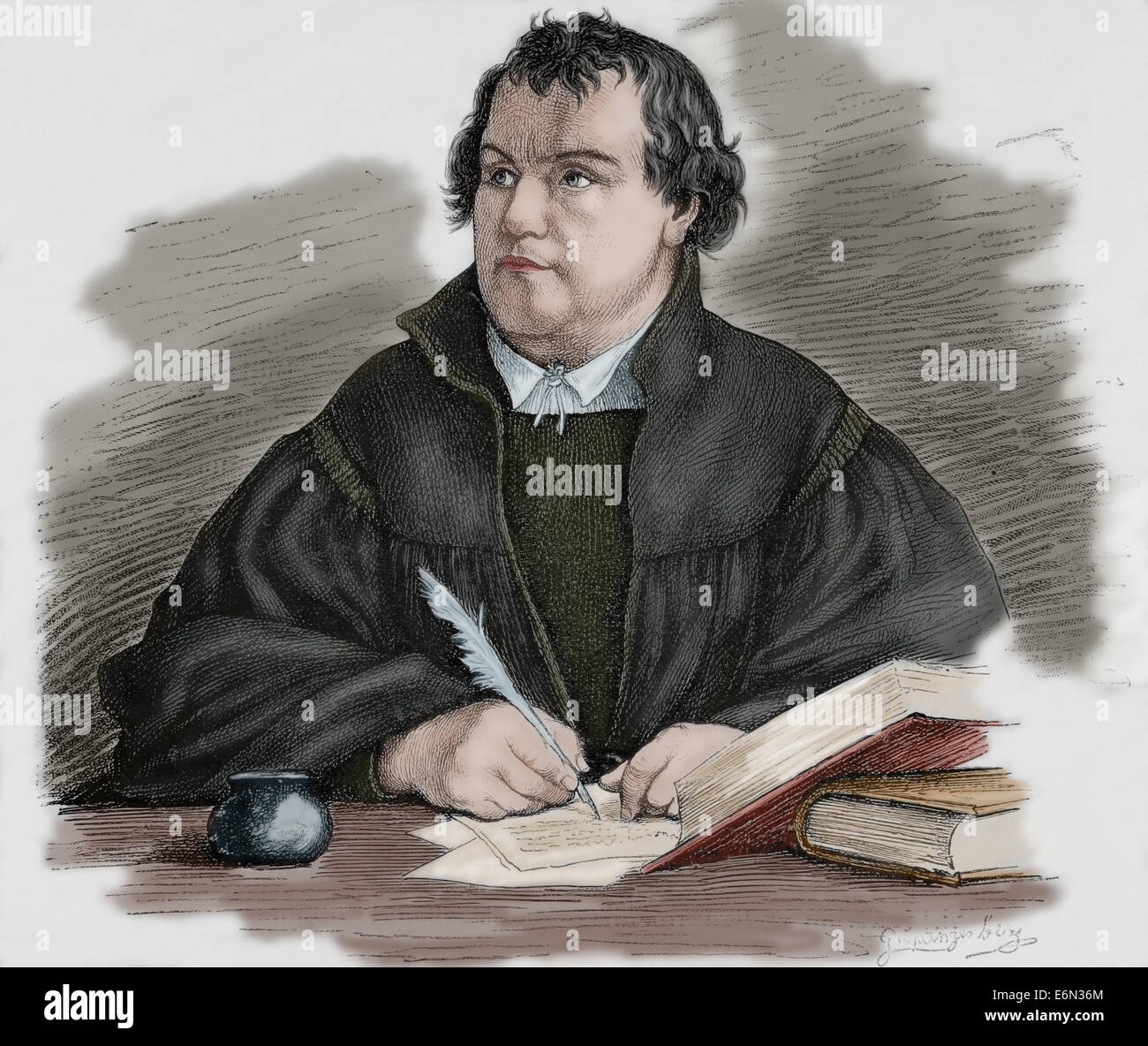 Martin Luther (1483-1546). German reformer. Engraving by G. Spangerberg in Germania, 1882. Colored. - Stock Image