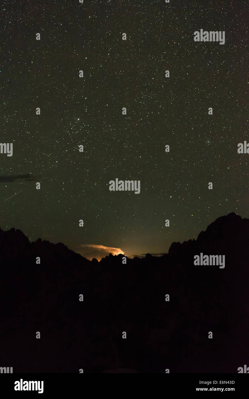 Distand thunderstorm adn stars, Sawtooth Mountains, Idaho. - Stock Image