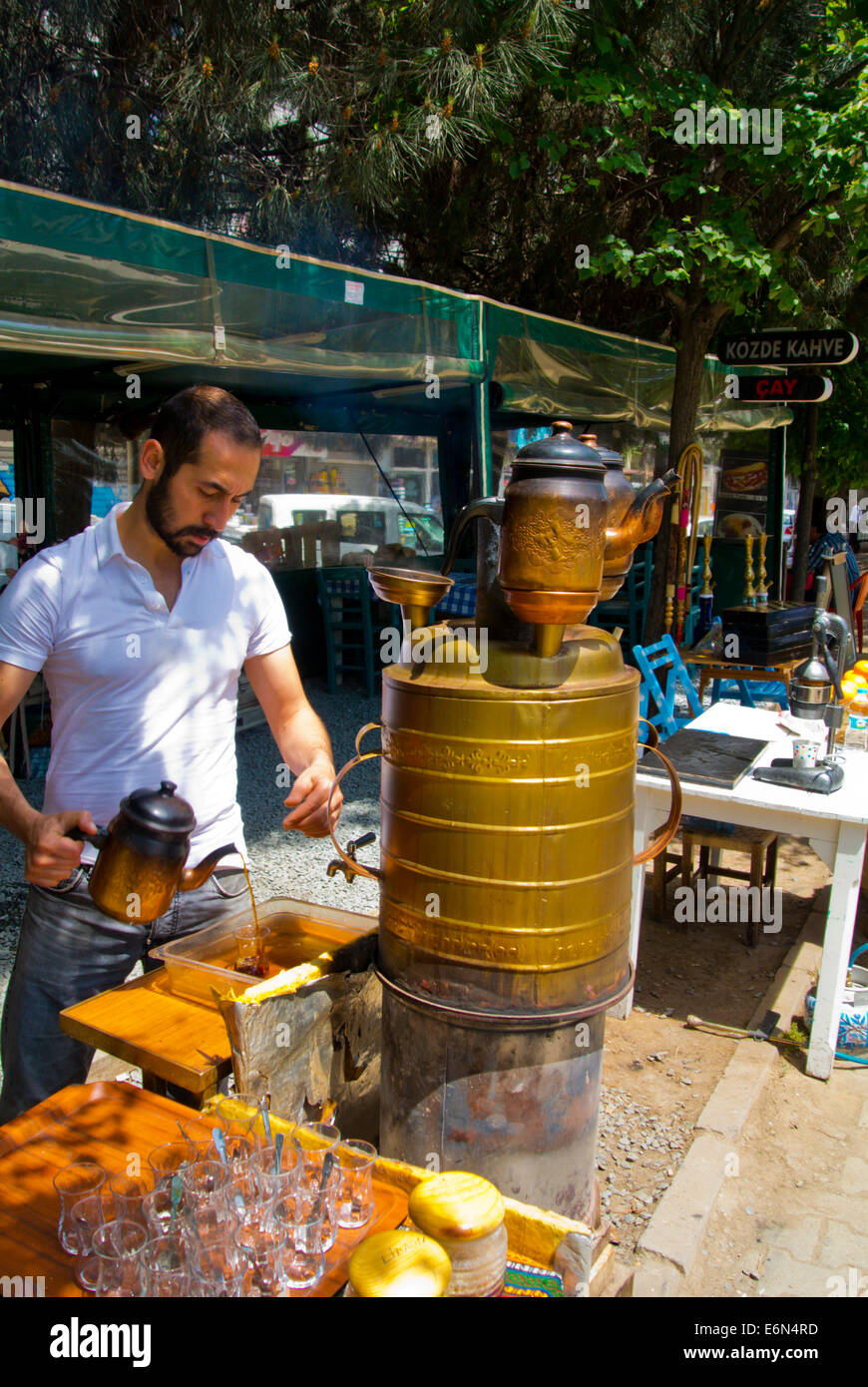 Traditional tea pot kettle, Karaköy waterfront, central Istanbul, Turkey, Eurasia - Stock Image