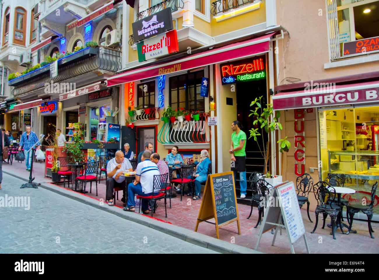 Bar and tea room terraces, Beyoglu district, central Istanbul, Turkey, Eurasia - Stock Image