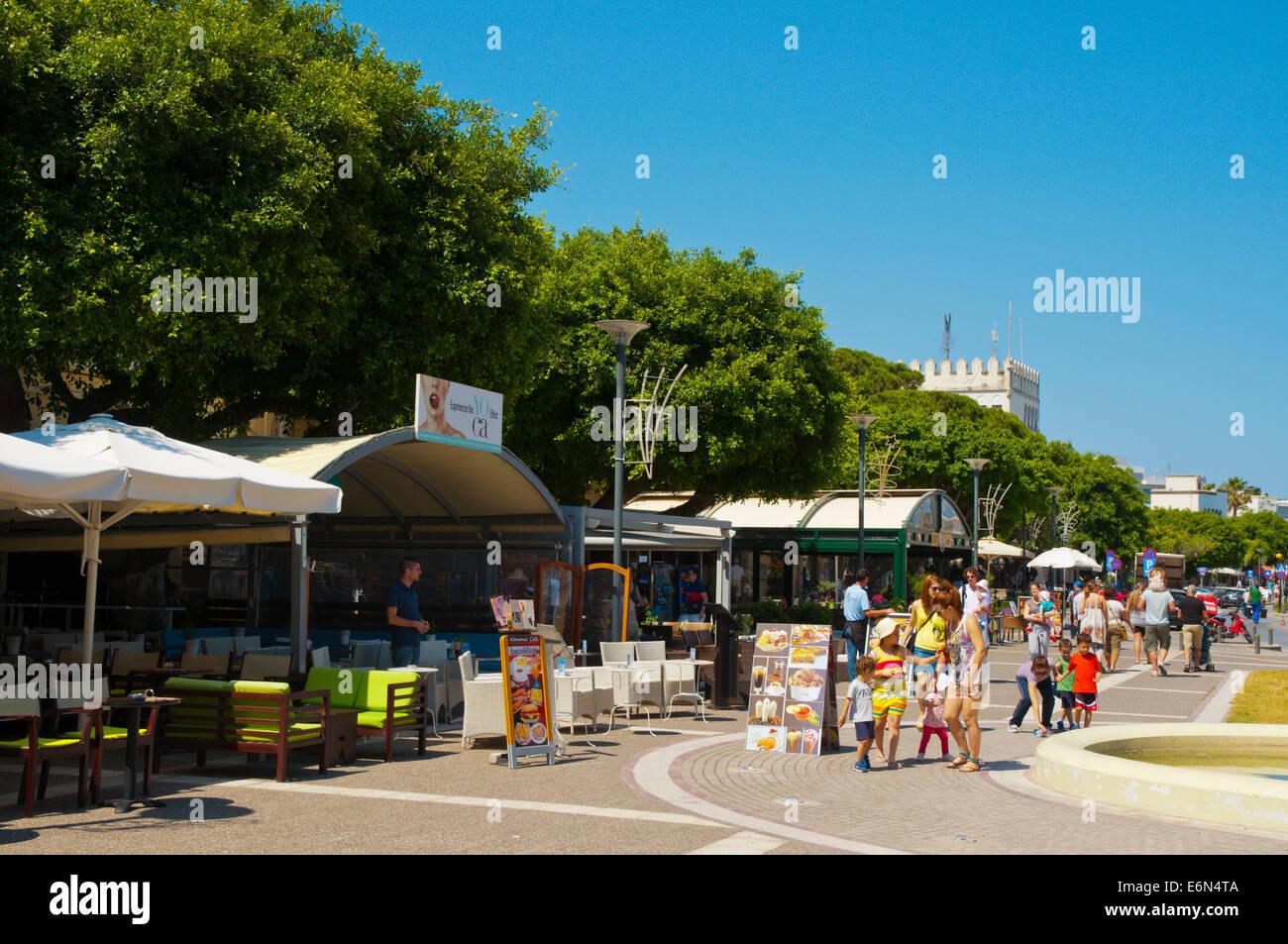 Akti Kountourioutou portside promende, Kos town, Kos island, Dodecanese islands,  Greece, Europe - Stock Image