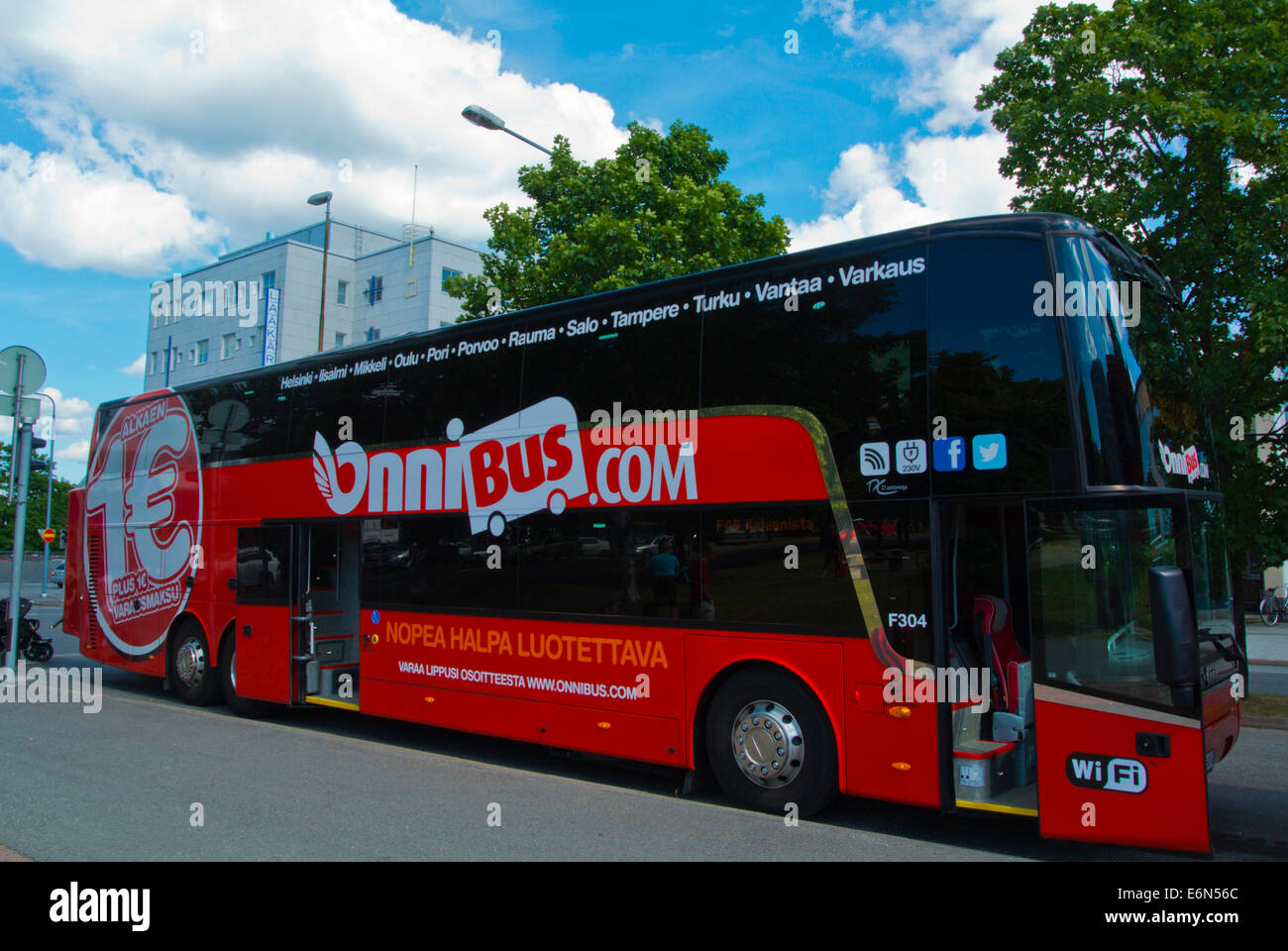 Onnibus, no frills long distance bus, Pori, Finland, Europe - Stock Image