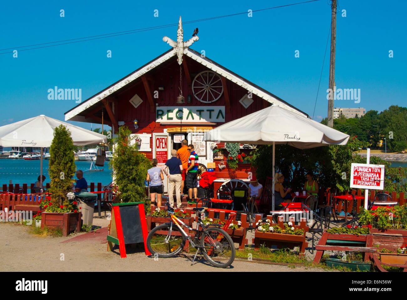 Regatta summer cafe, Taivallahti bay, Töölö district, Helsinki, Finland, Europe - Stock Image