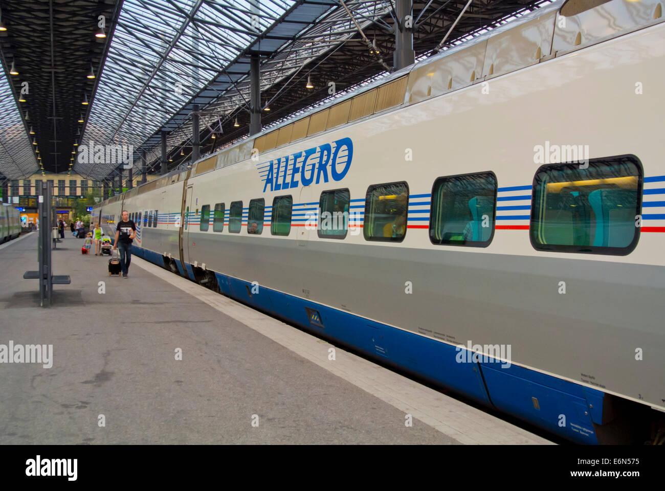 Allegro train to St Petersburg, main railway station, Helsinki, Finland, Europe - Stock Image