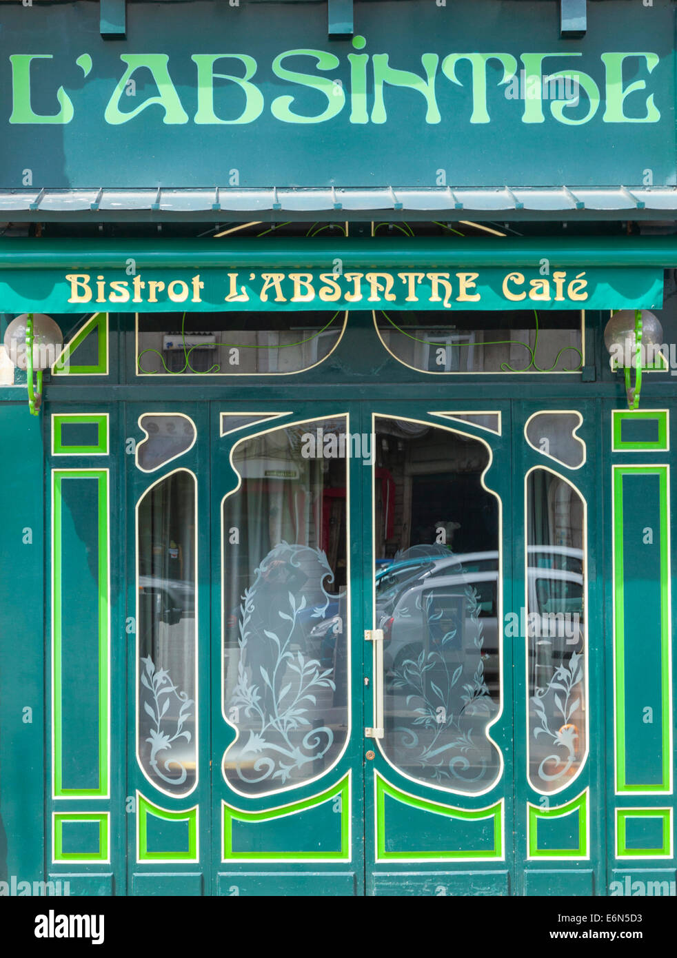 Absinthe cafe bistrot in Grenoble, Rhone-Alpes, France - Stock Image