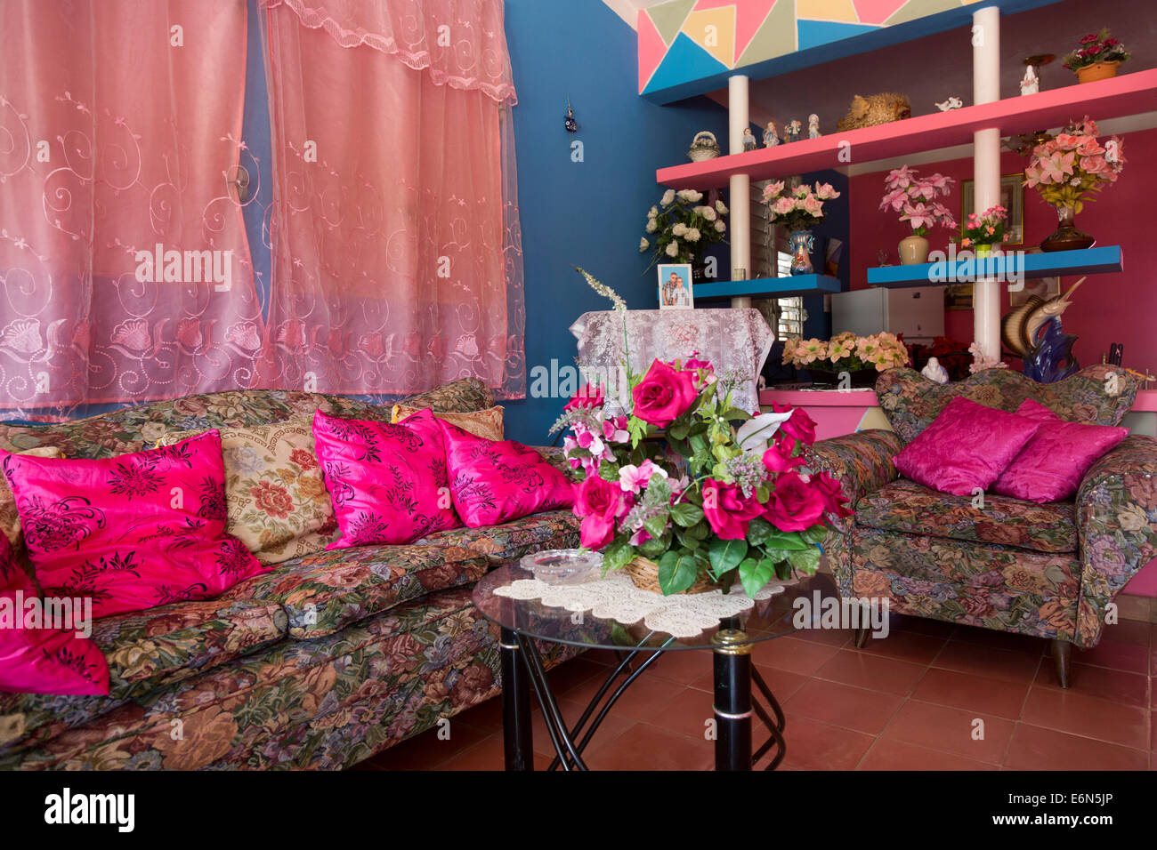 sitting room of traditional lower middle class Cuban home, Vinales, Western Cuba - Stock Image