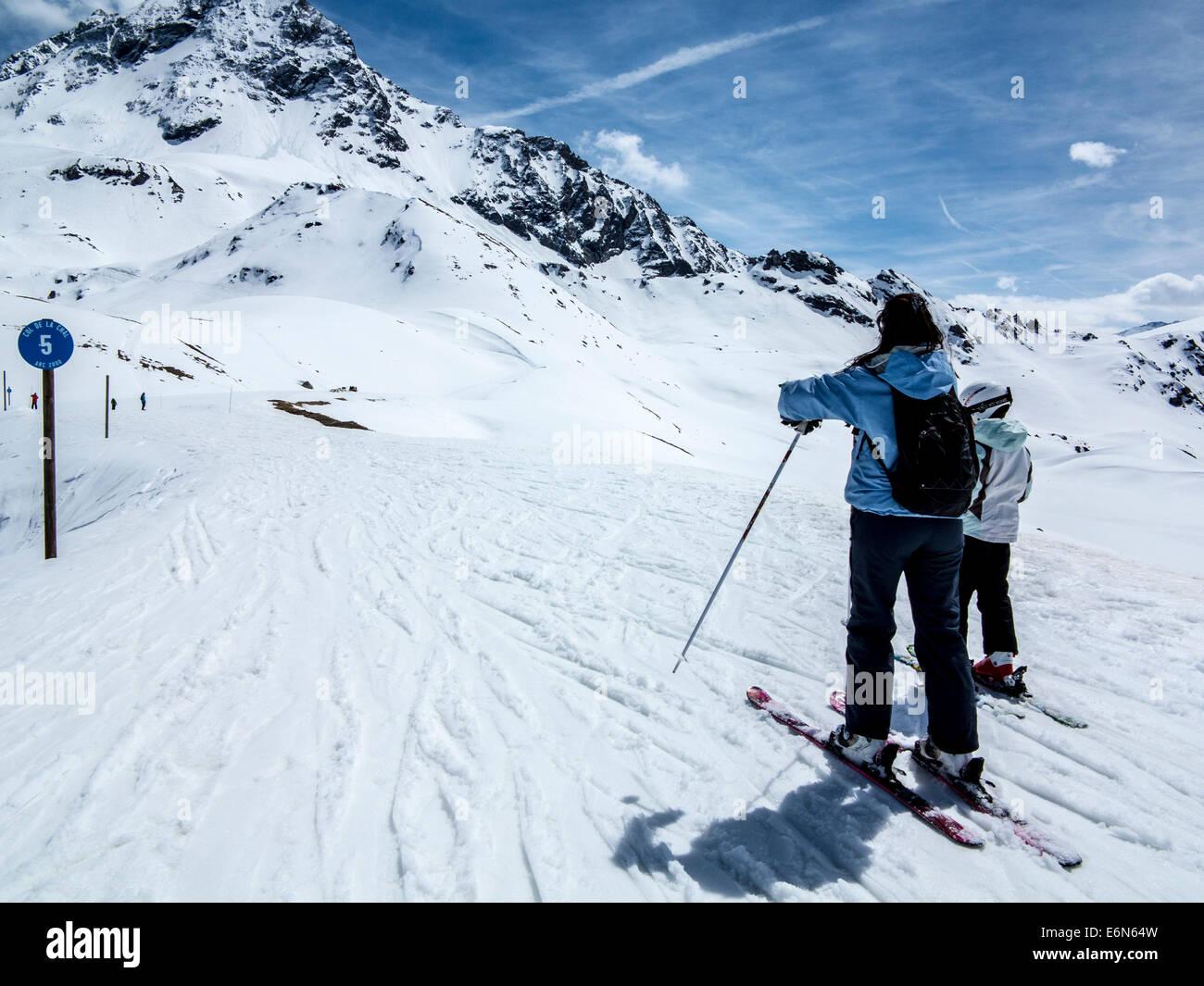 Col de la Chal run in Les Arcs 2000 ski resort, Les Arcs, Savoie, Rhone Alpes, France - Stock Image