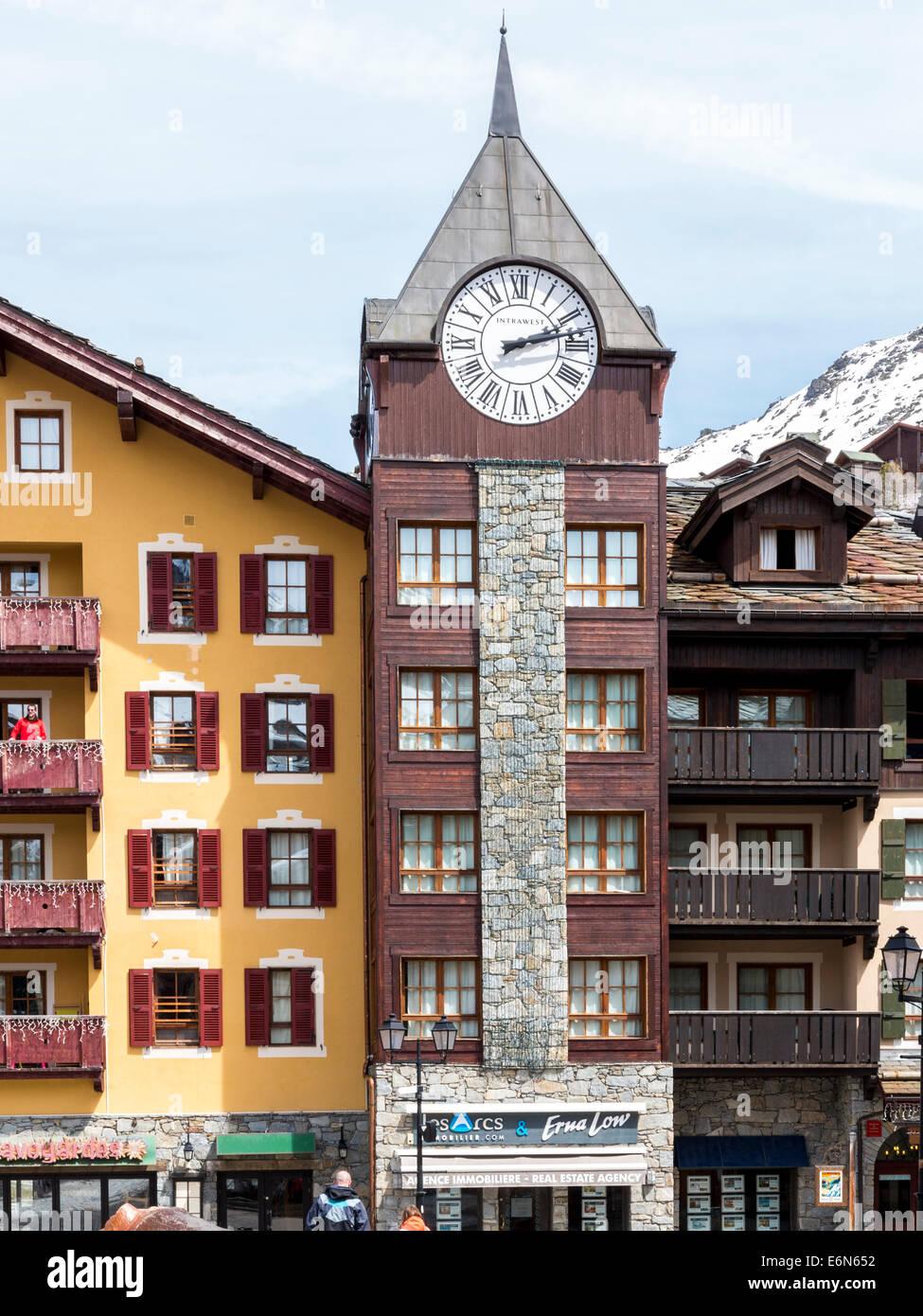 Building in Les Arcs 1850, Savoie, Rhone Alpes, France - Stock Image