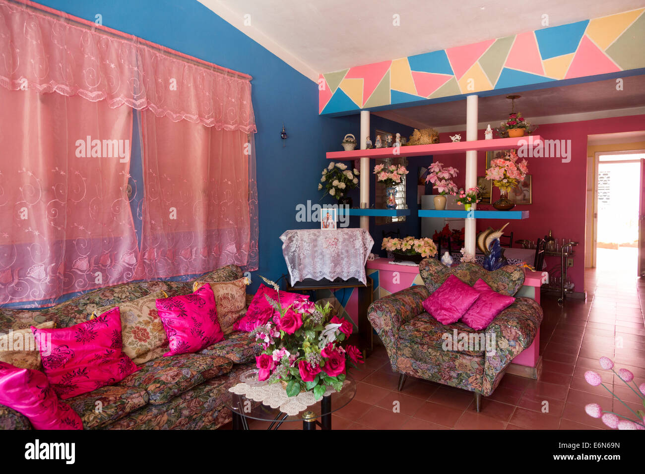 Sitting room of lower middle class cuban home vinales western cuba stock image