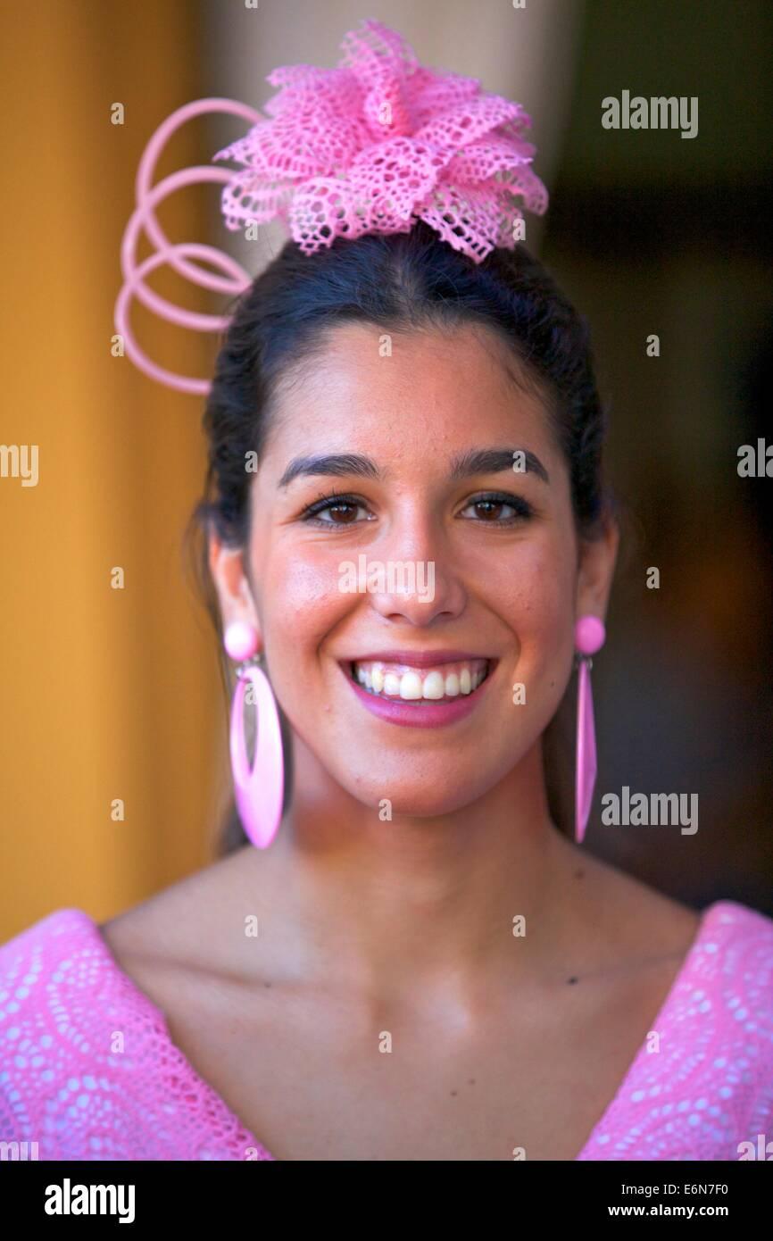 Traditionally Dressed Spanish Female, Jerez de la Frontera,Cadiz Province, Andalusia, Spain, South West Europe - Stock Image