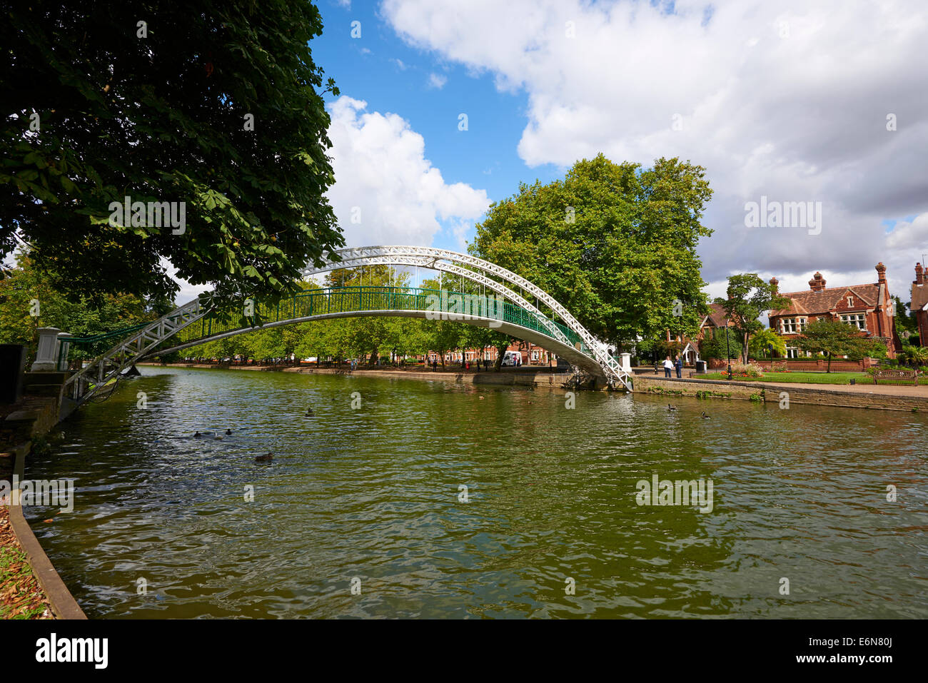 View Towards The Embankment With The Pedestrian Suspension Bridge Over The River Great Ouse To The Left Bedford - Stock Image
