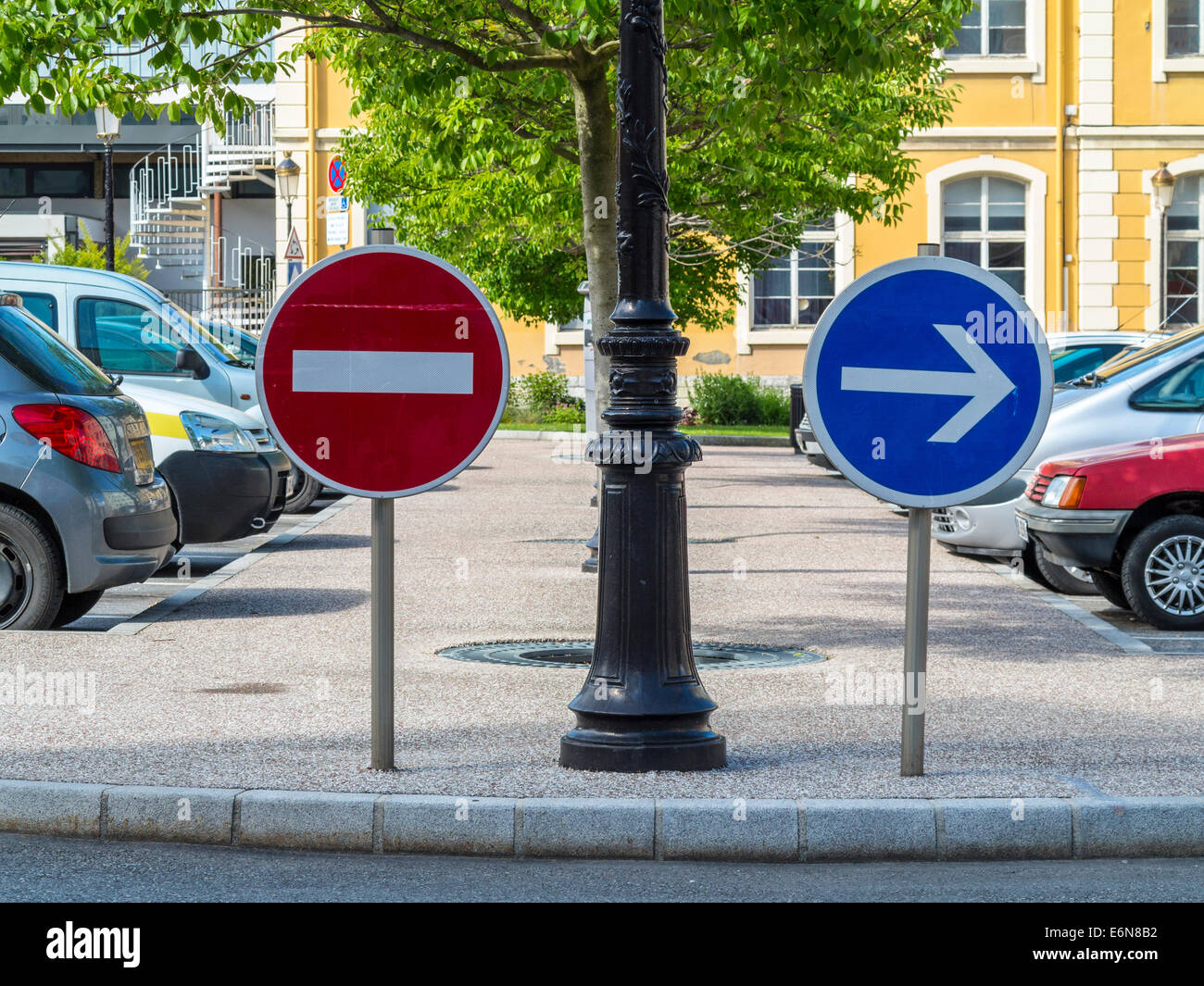 No entry and direction sign in Albertville, Savoie, Rhone Alpes, France - Stock Image