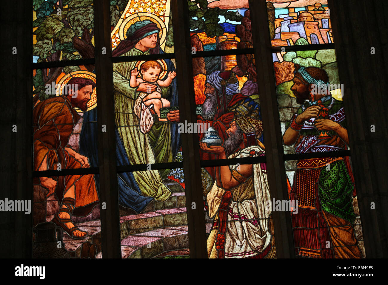 Adoration of the Magi. Stained glass window in Saint Barbara's Church in Kutna Hora, Czech Republic. - Stock Image