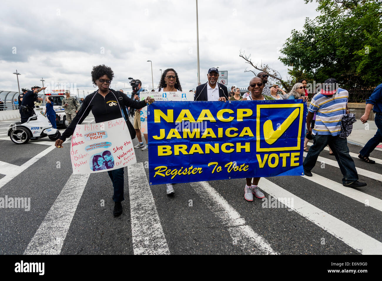Staten Island, NY - 23 Aug 2014 - Members of the Jamaica NAACP depart the St George ferry terminal to join the march - Stock Image