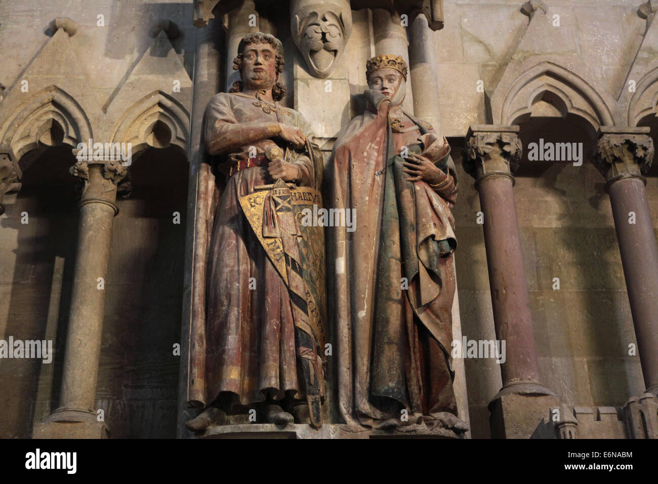 Gothic statues of Margrave Eckard II and his wife Uta in Naumburg Cathedral in Naumburg, Saxony Anhalt, Germany. - Stock Image