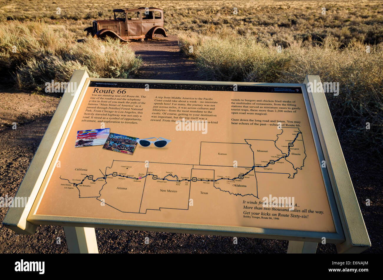 Map Of Old Route 66 Arizona.Route 66 Historic Sign And Map Petrified Forest National Park Stock
