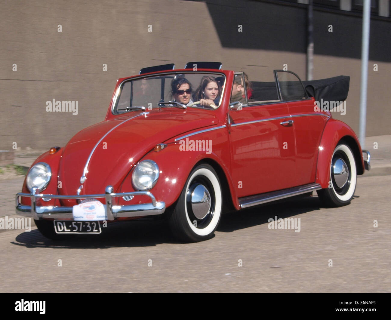1960 Red Volkswagen Kever cabrio, licenceno DL-57-32, pic1 Stock Photo