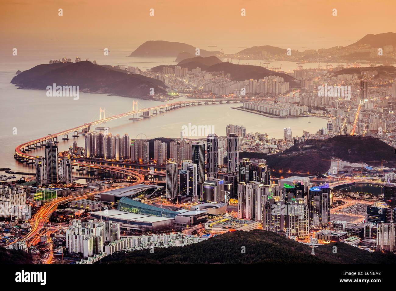 Skyline of Busan, South Korea at night. Stock Photo