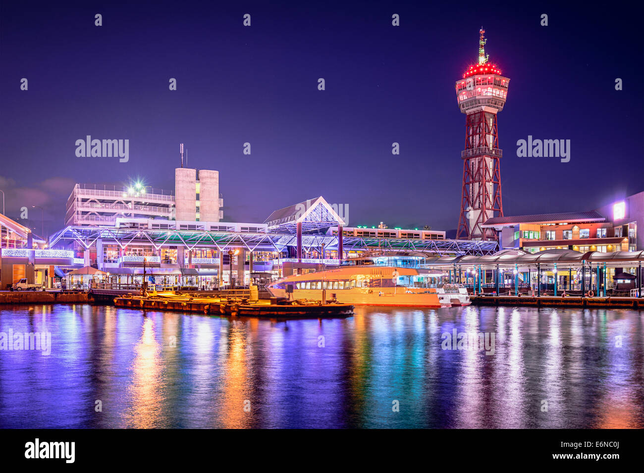 fukuoka japan city skyline at the port stock photo