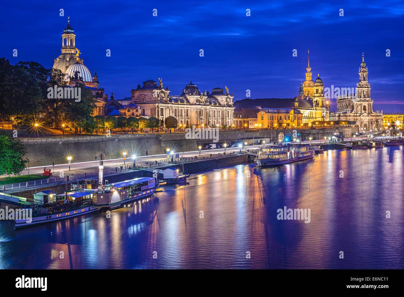 Dresden, Germany cityscape on the Elbe River. Stock Photo