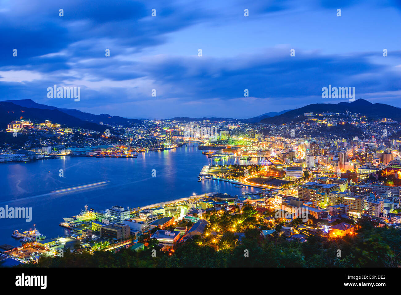 Nagasaki, Japan city skyline at dusk. - Stock Image