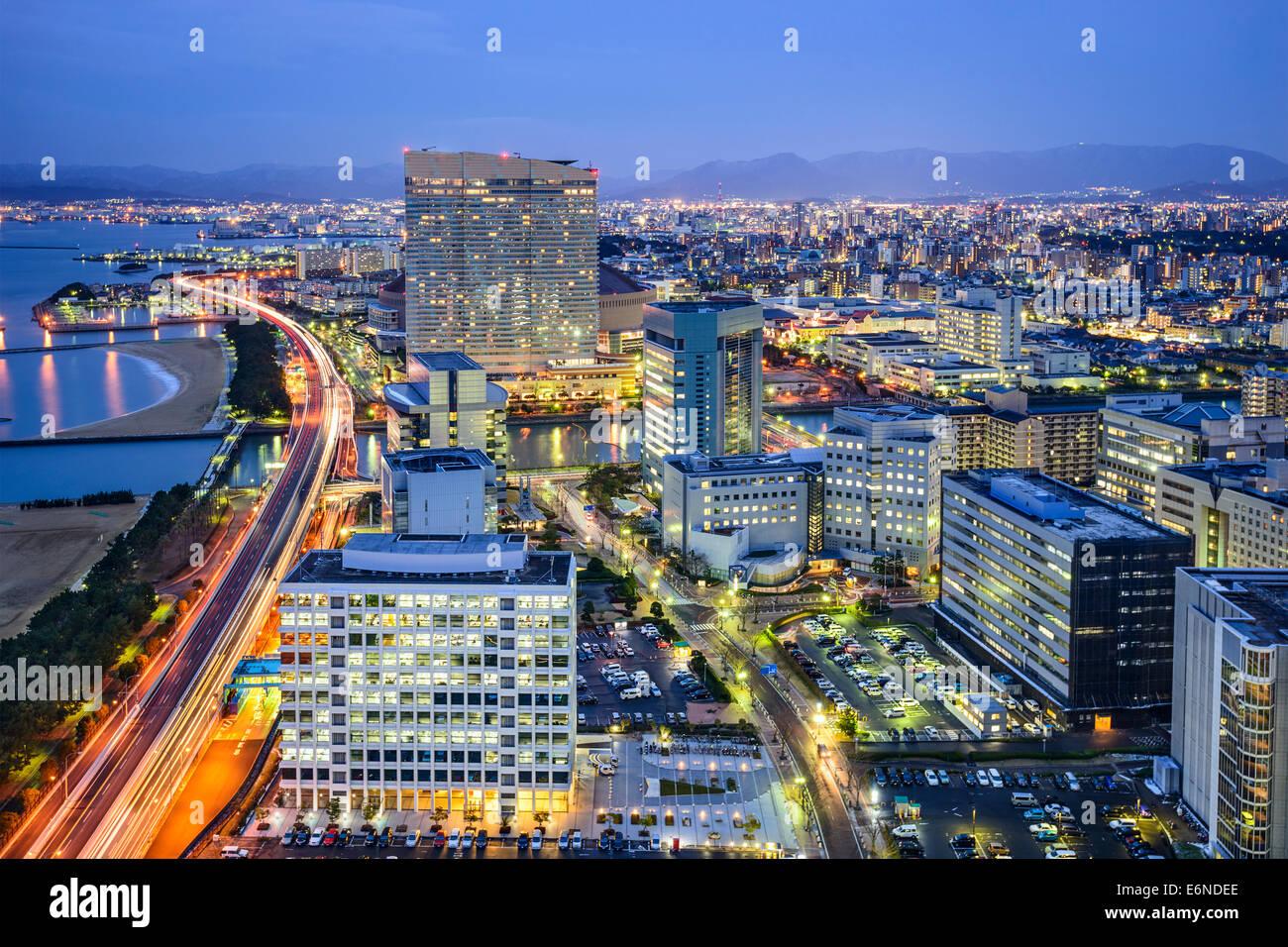 Fukoka, Japan downtown city skyline. - Stock Image