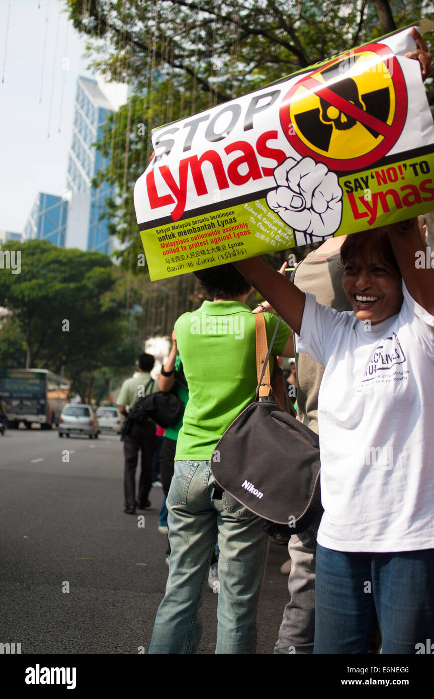 protestor during stop lynas campaign - Stock Image