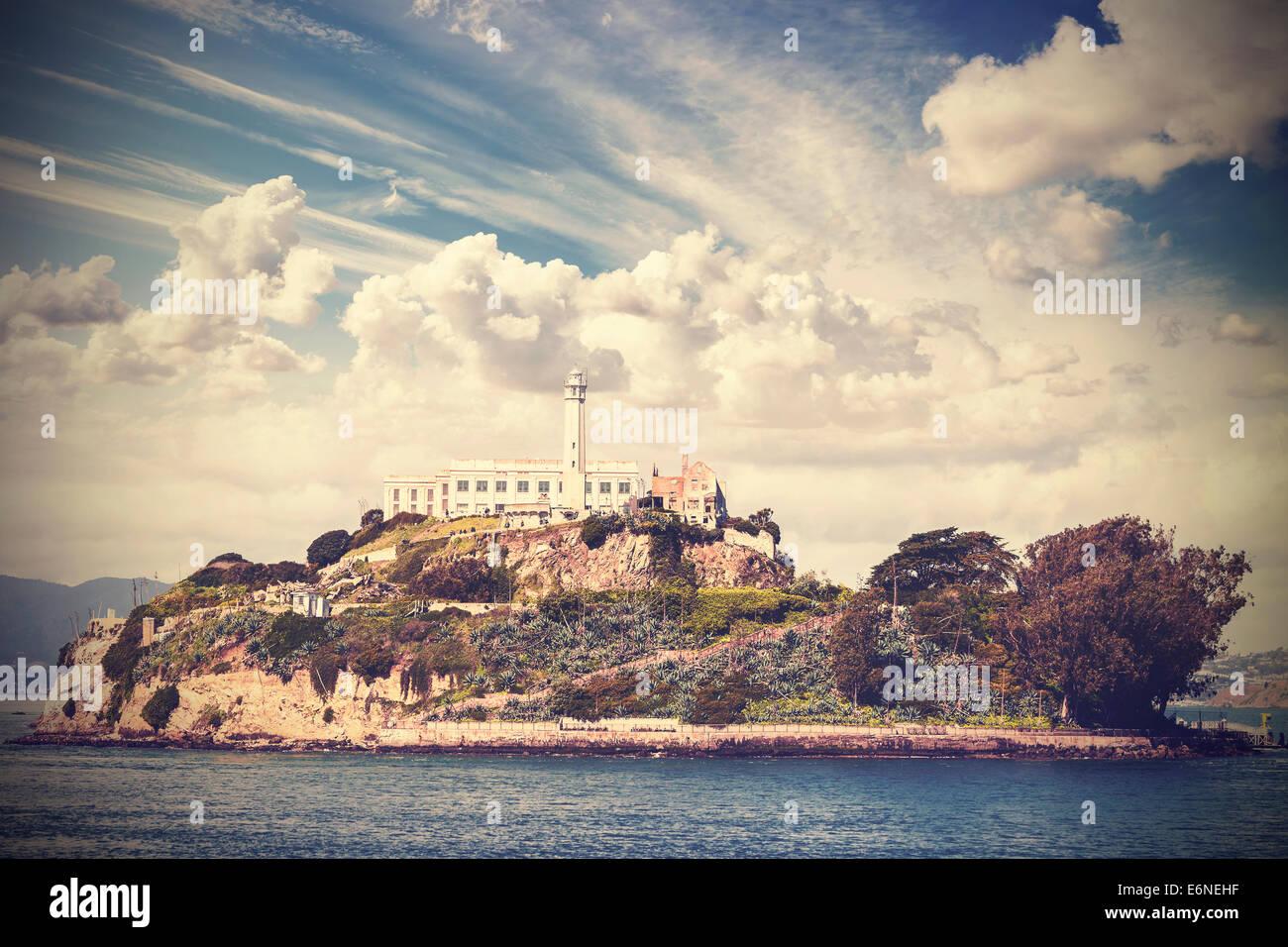 Vintage picture of Alcatraz Island in San Francisco, USA. - Stock Image