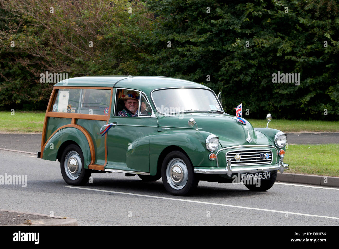 Morris Minor Traveller on the Fosse Way road, Warwickshire, UK - Stock Image