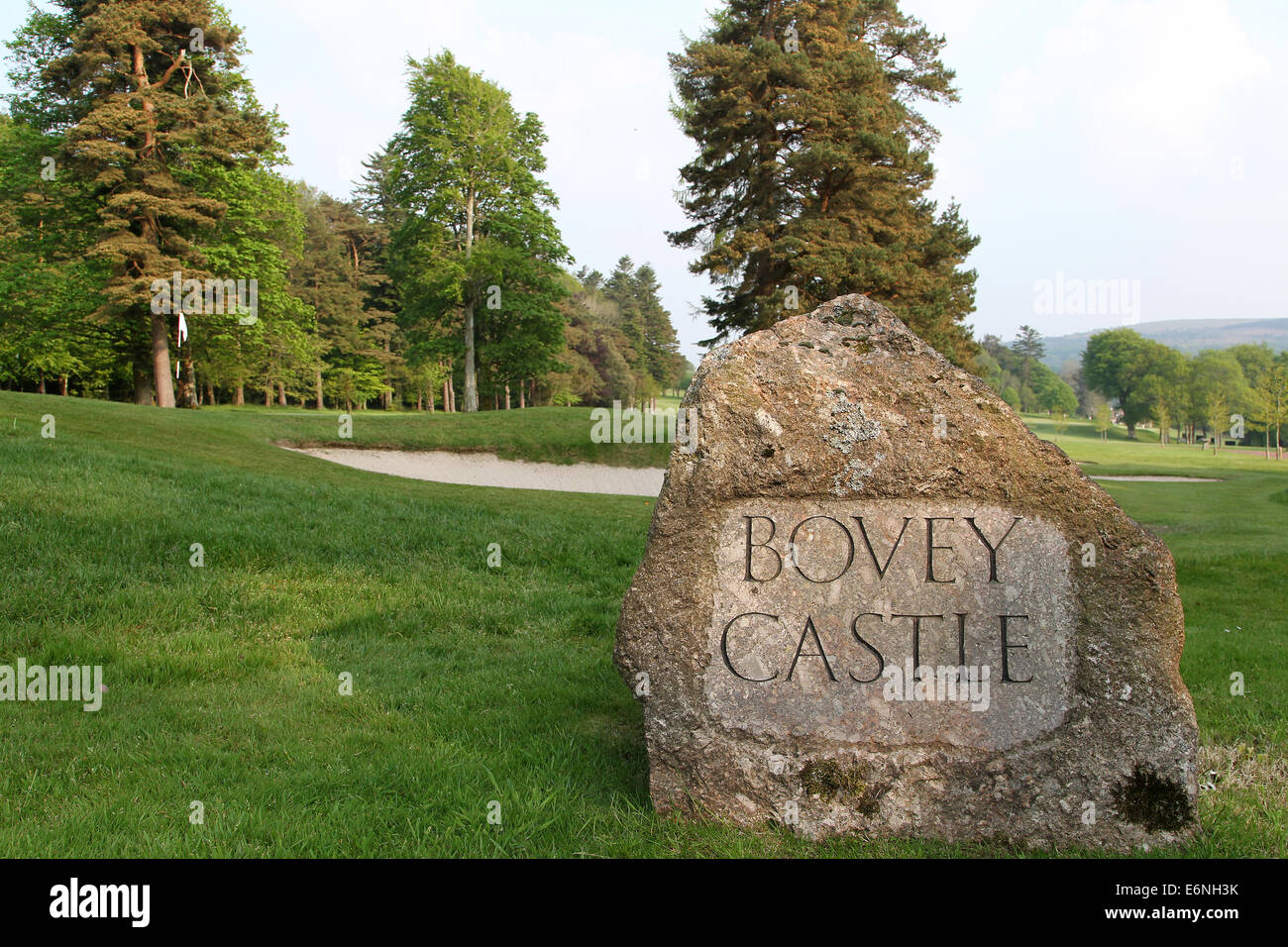 The entrance to Bovey Castle estate on Dartmoor National Park, Devon, England - Stock Image