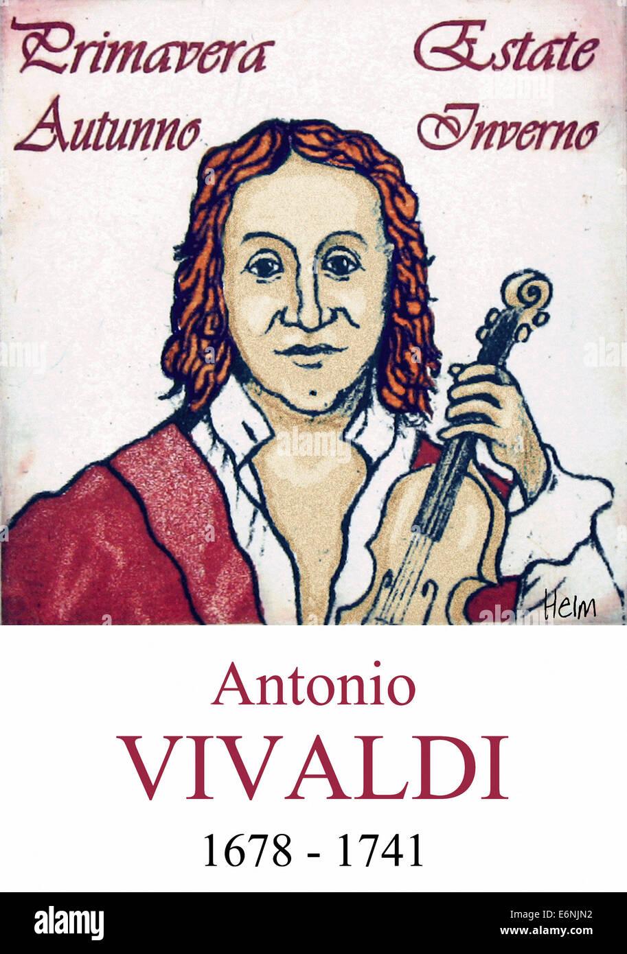 Portrait of Antonio Vivaldi, 1678 - 1741, Italian baroque composer - Stock Image