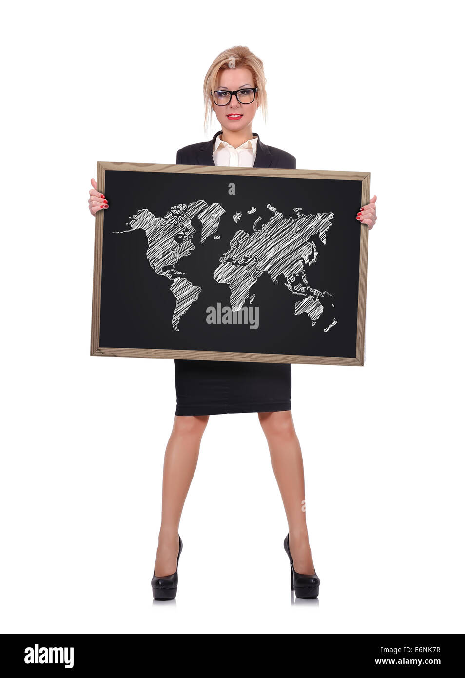 Teacher holding blackboard with drawing world map stock photo teacher holding blackboard with drawing world map gumiabroncs Image collections