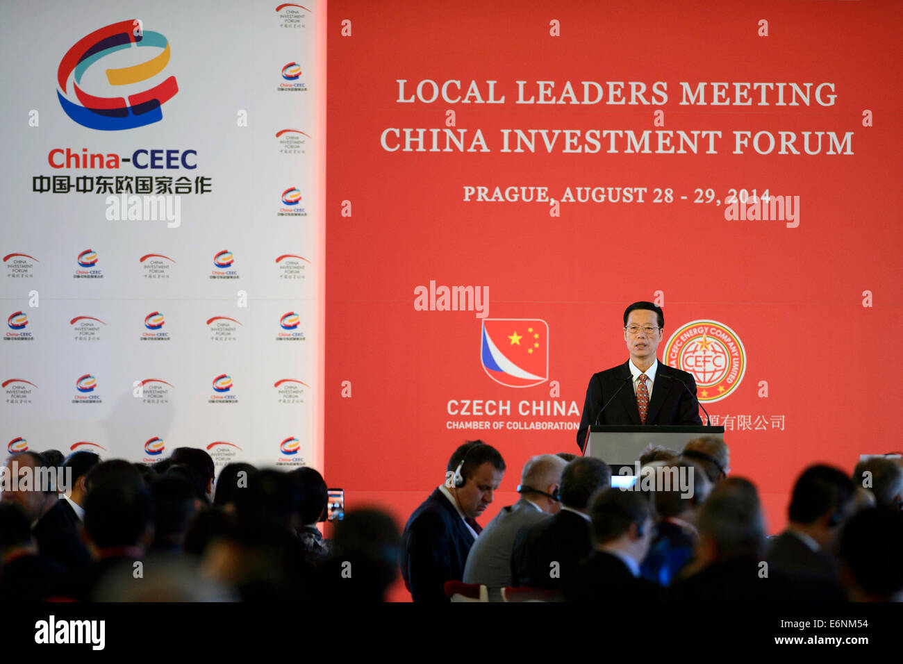 Prague, Czech Republic. 28th Aug, 2014. Vice Premier of the People´s Republic of China Zhang Gaoli speaks during - Stock Image