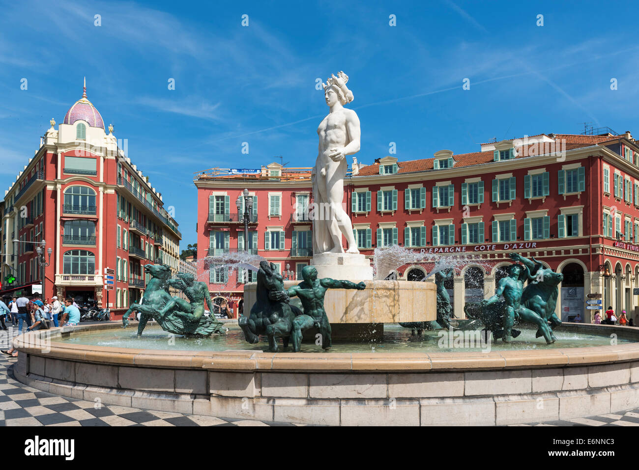 Nice, France, Fontaine du soleil fountain and statue of Apollo in Place Massena square, Nice, Provence, France, - Stock Image