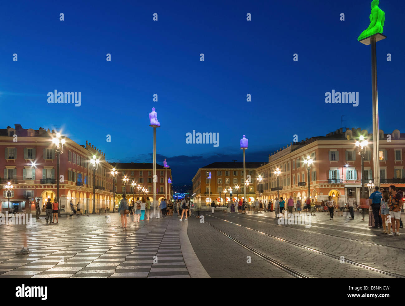 Place Massena square in the Old Town center of Nice, Provence, France, Europe - with sculpture columns - Stock Image