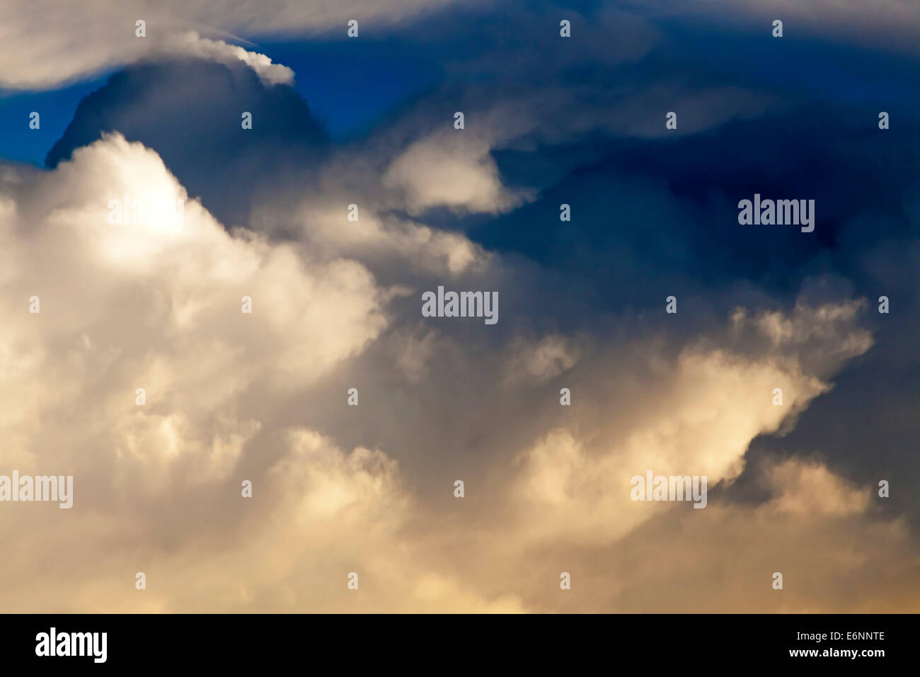 View of cloud formations from aircraft window over Indian Ocean Stock Photo