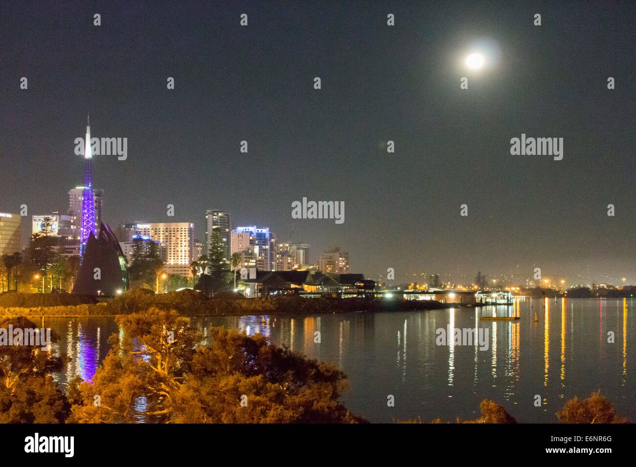 full moon night over Perth - Stock Image