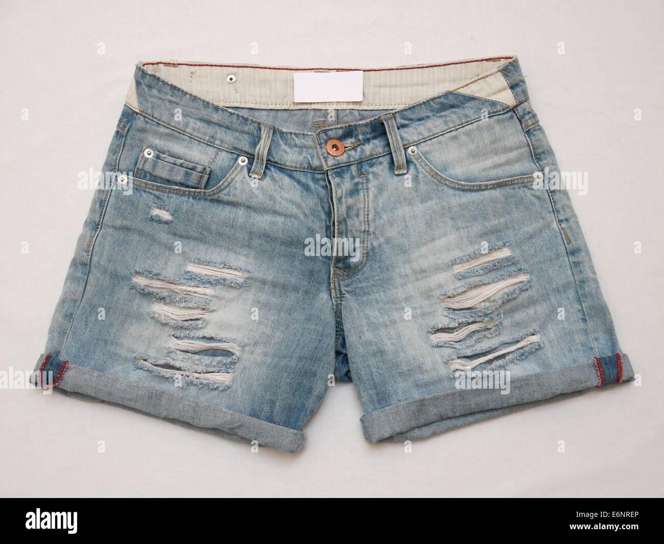 Pair of female shorts isolated against white background Stock Photo