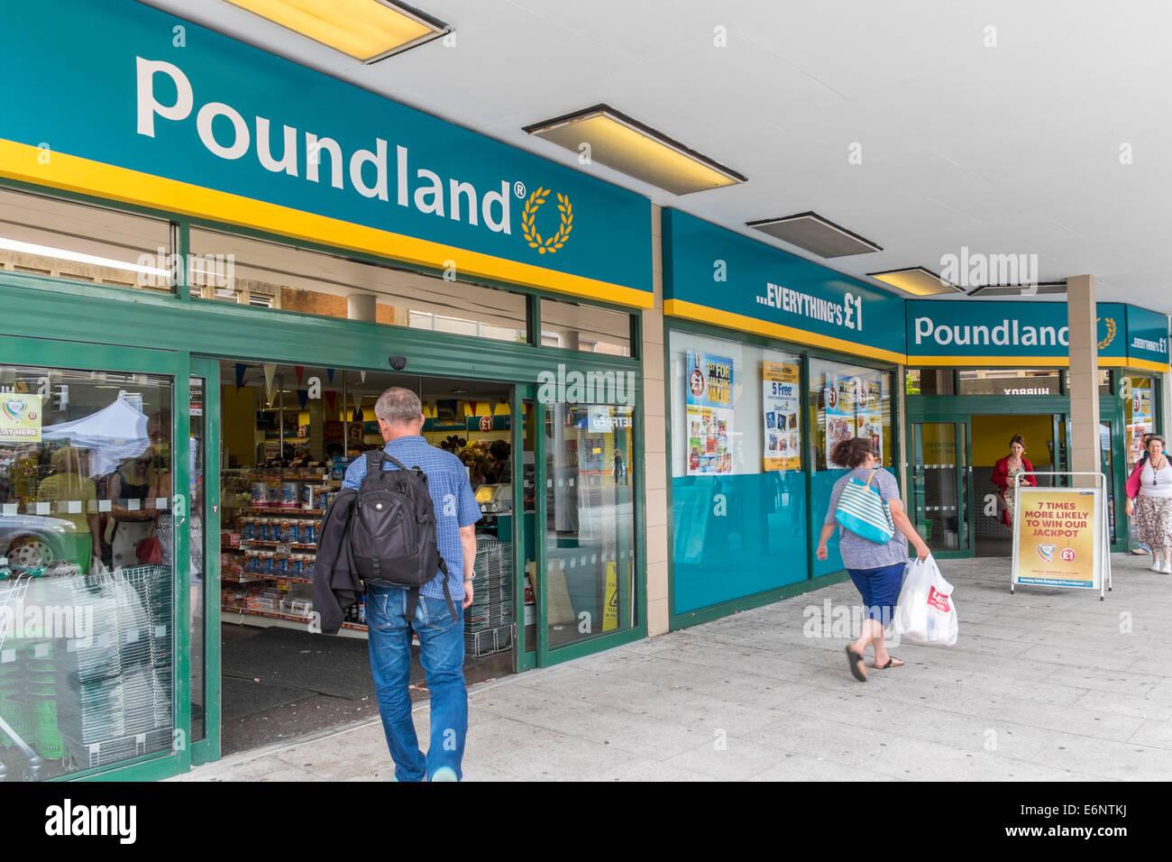 Poundland discount store, Exeter, Devon, England UK - Stock Image