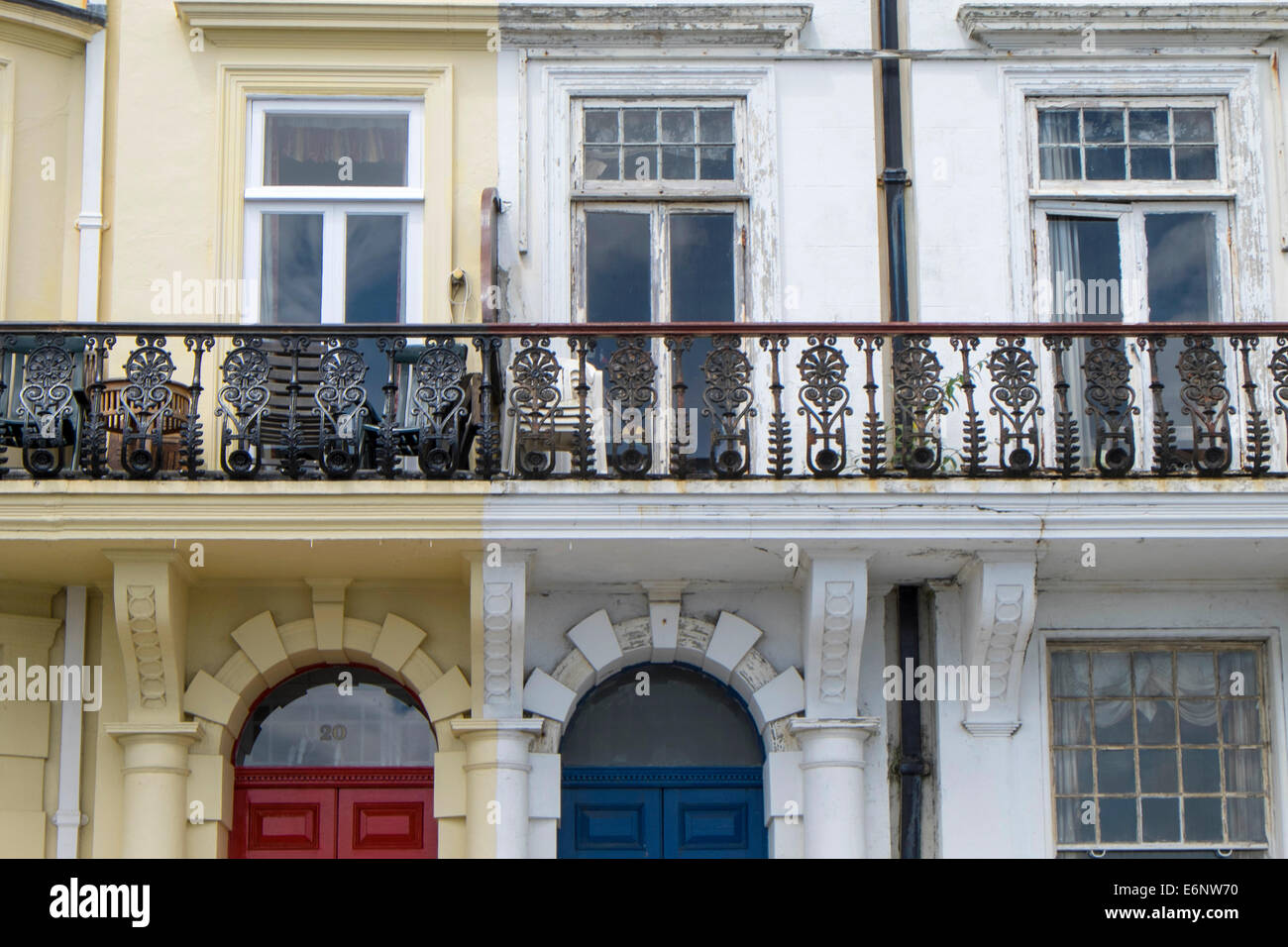 One refurbished property and one run down house on Plymouth Hoe, Plymouth, devon, England, UK - Stock Image