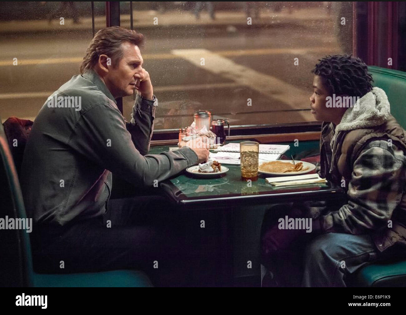 A WALK AMONG THE TOMBSTONES 2014 Universal Pictures film with Liam Neeson at left and Astro - Stock Image