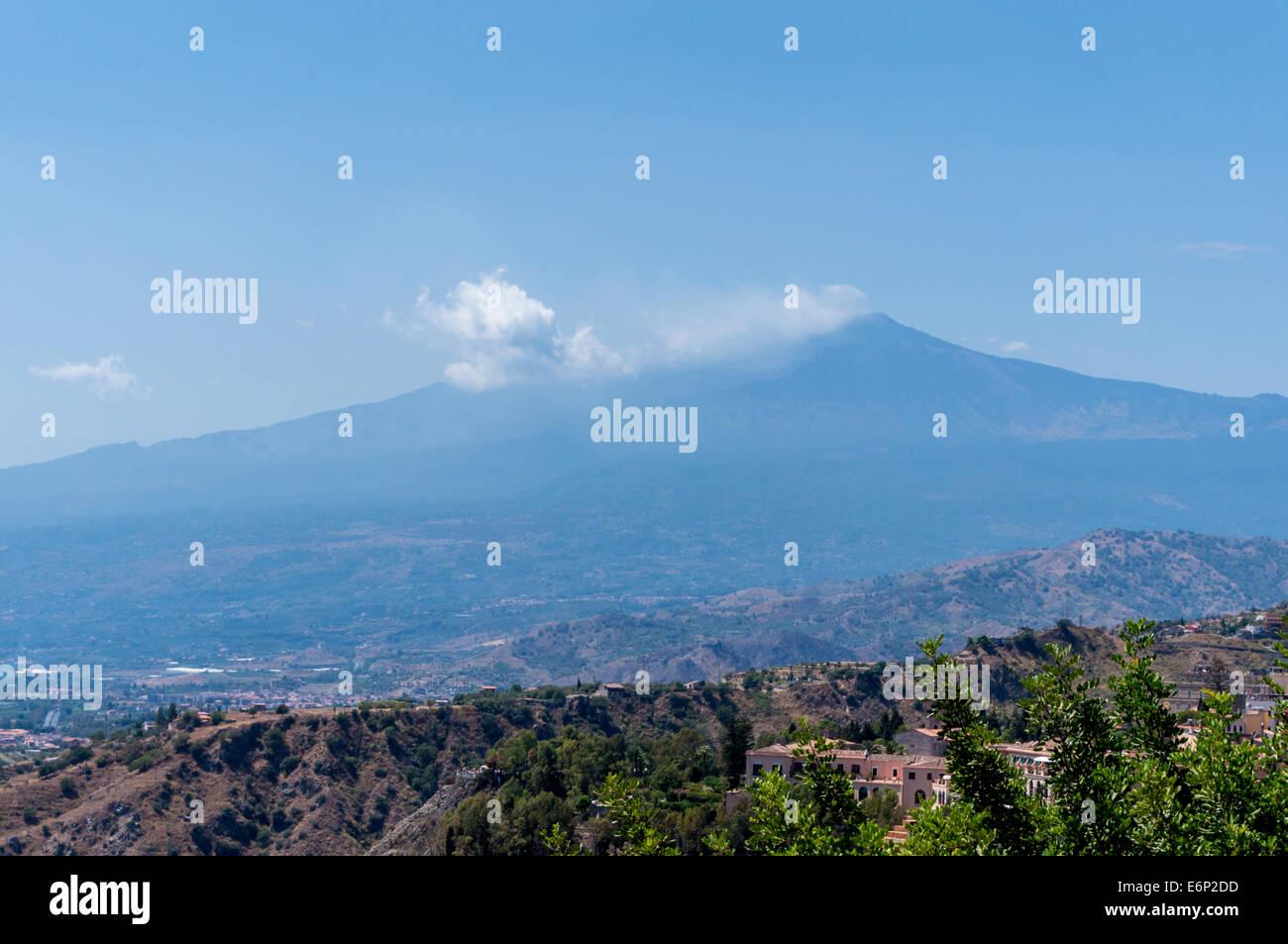 View of smoking Mount Etna - Stock Image