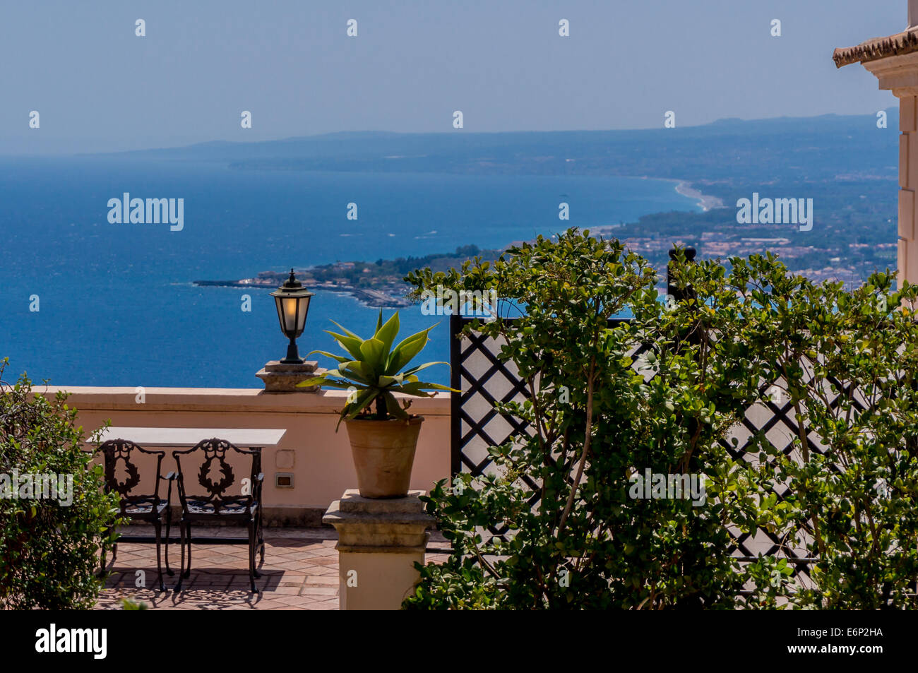 Beautiful view of Sicilian coastline from rooftop terrace - Stock Image