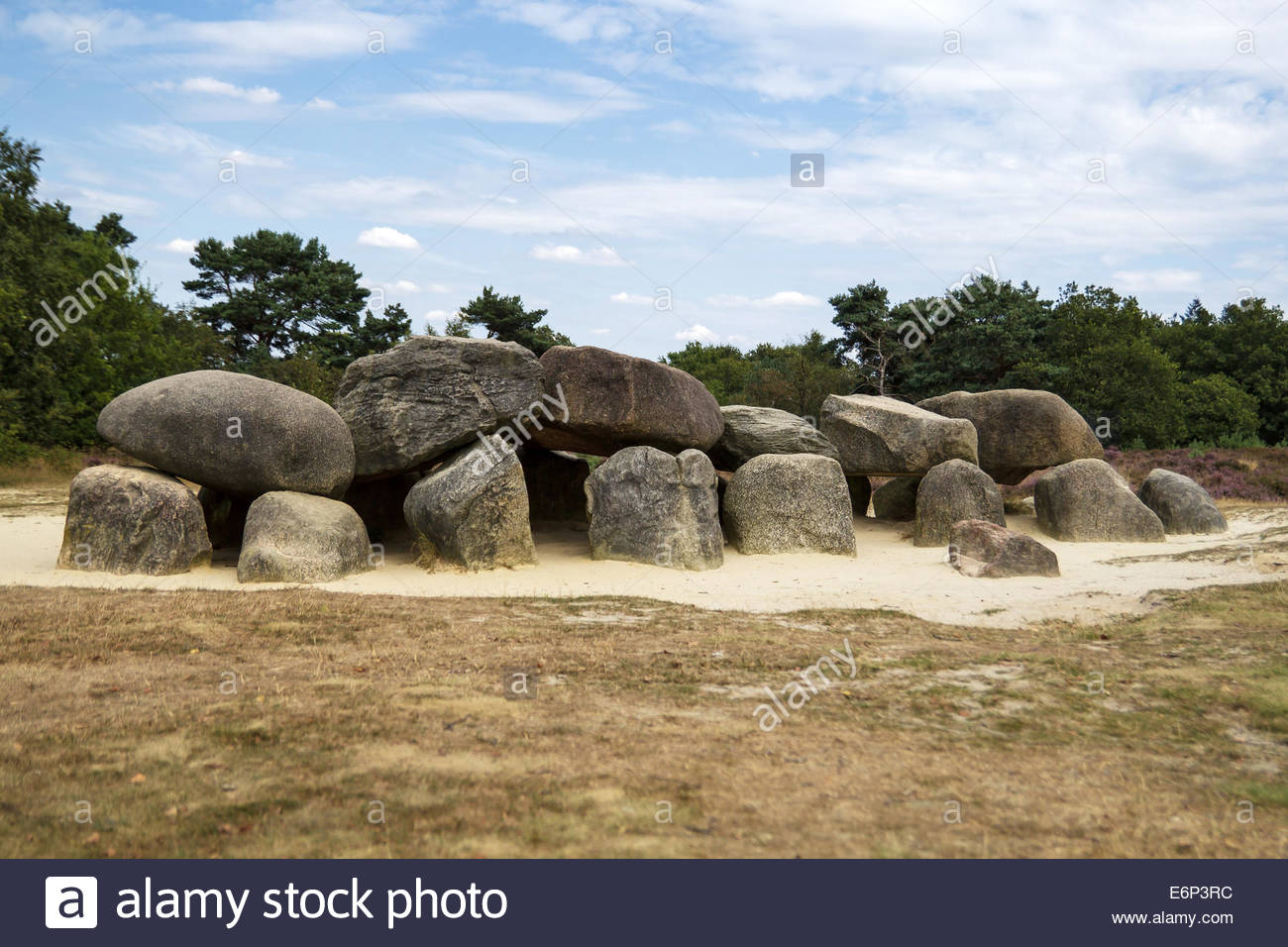 An ancient megalithic tomb in the Netherlands. - Stock Image
