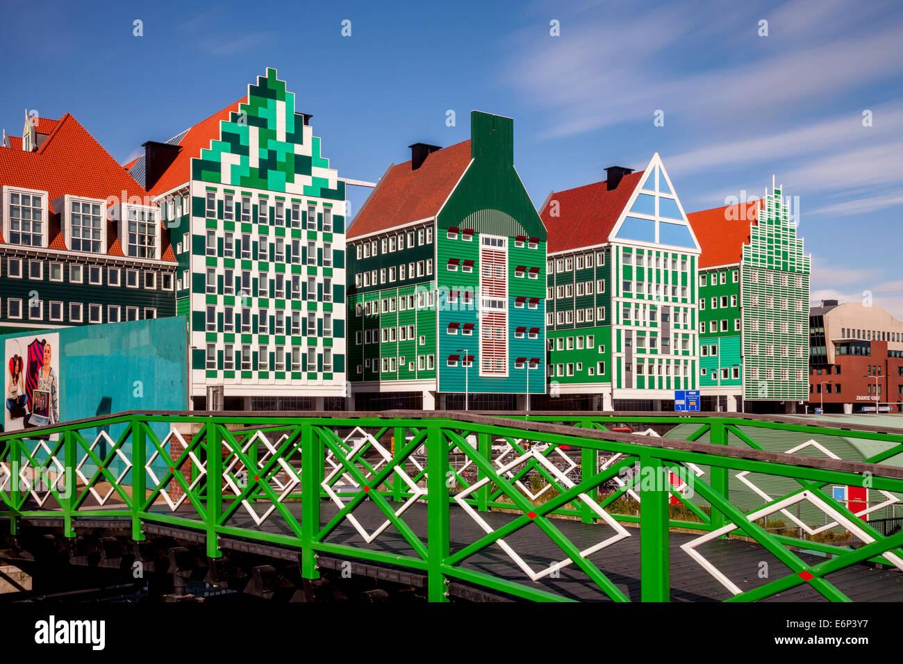 Colourful Buildings, Zaandam, Amsterdam, Holland - Stock Image