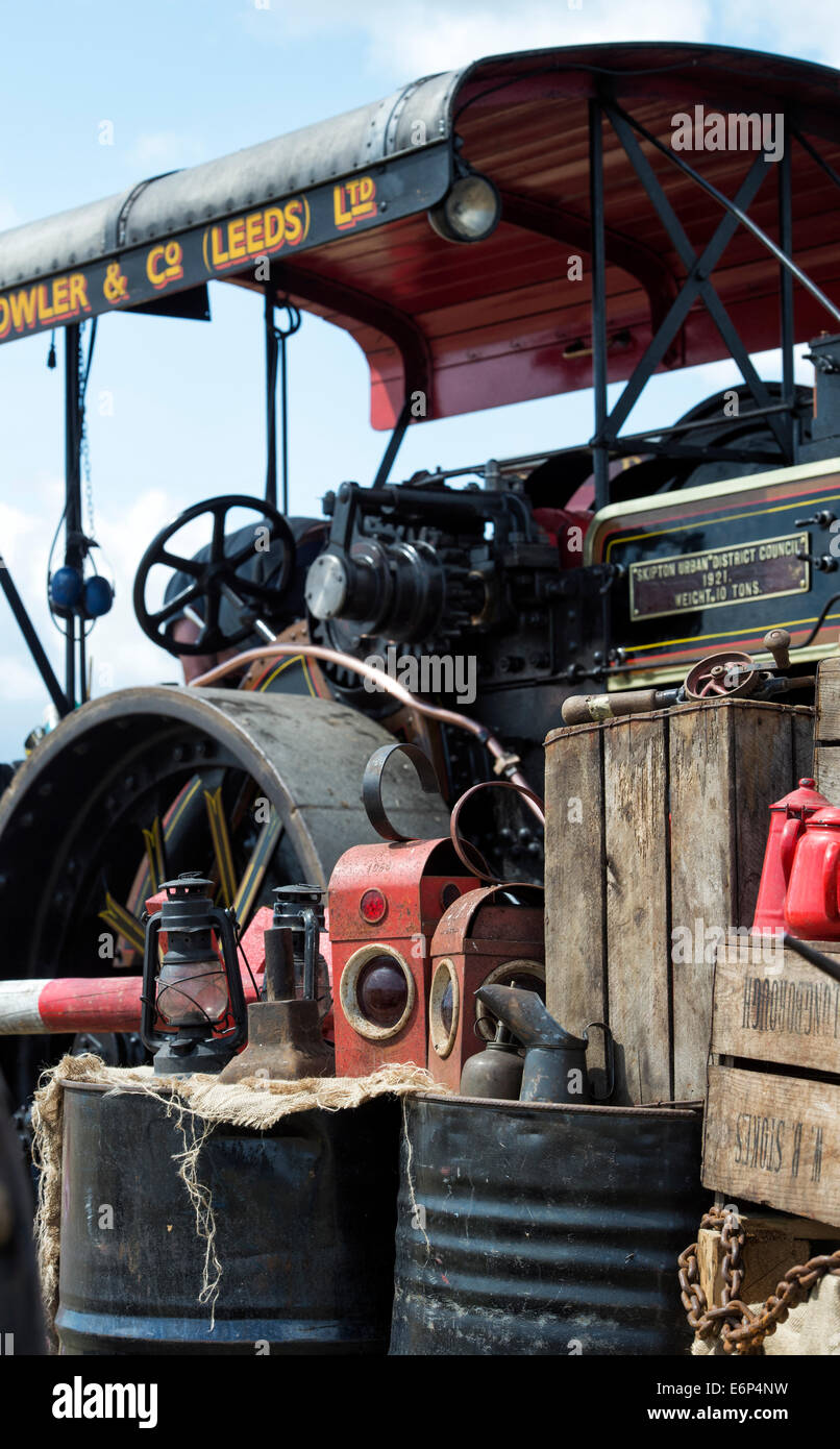 Old road work paraffin lamps at a historical transport show. UK - Stock Image