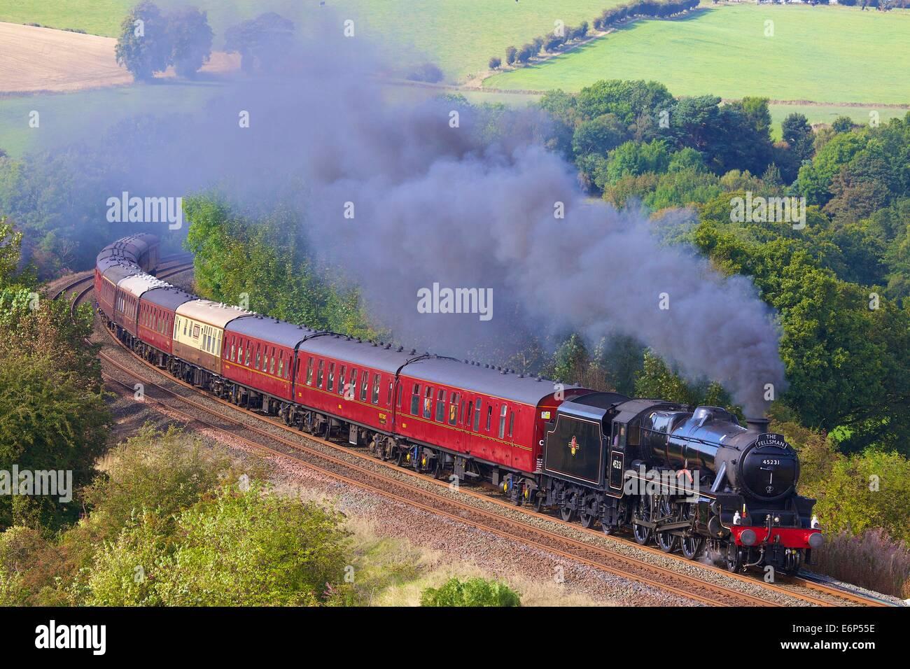 The Sherwood Forester LMS Stanier Class 5 4-6-0 45231, Steam train near Low Baron Wood Farm, Armathwaite, Settle to Carlisle Railway Line, Eden Valley, Cumbria, England, UK.