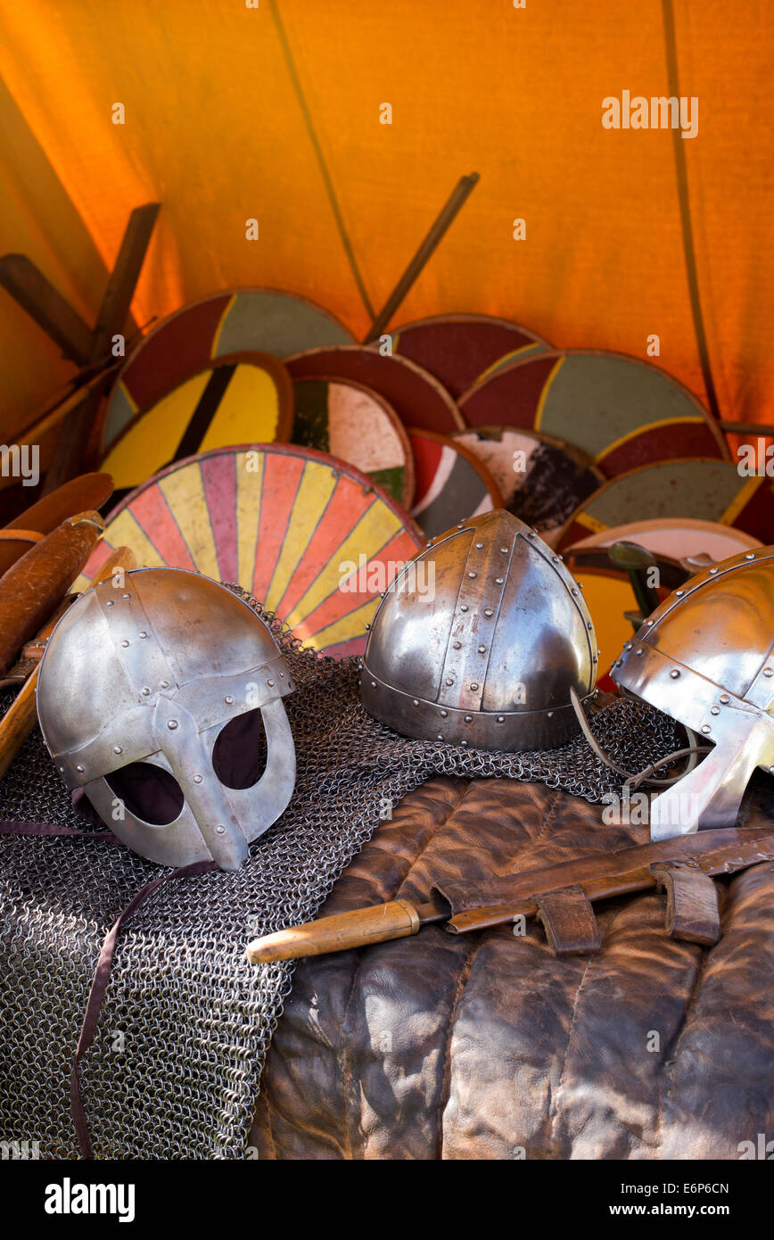 Viking armor and weapons at a historical reenactment. UK - Stock Image