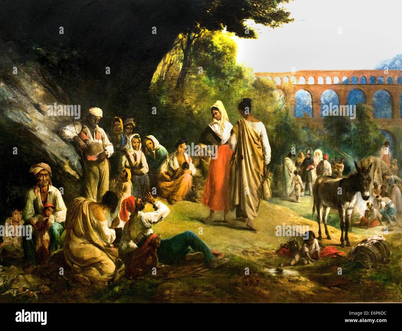 Les Bohémiens au Pont du Gard - Bohemians at the Pont du Gard 1836 Alexandre Marie Colin 1708-1873  France - Stock Image